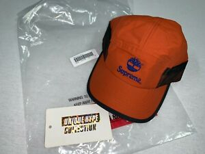 SUPREME 2021 S/S TIMBERLAND CAMP CAP BOX LOGO ORANGE HAT 5 6 PANEL