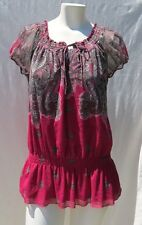 INC International Concepts Pink Grey Nylon Mesh Knit Long Shirt Tunic Top size M