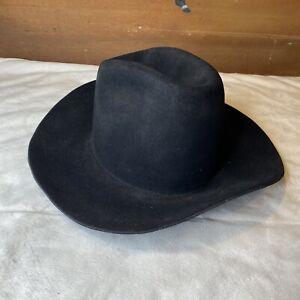 Vintage Solid Black Longhorn Three X (3X) Beaver Felt Cowboy Hat Size 7 1/4