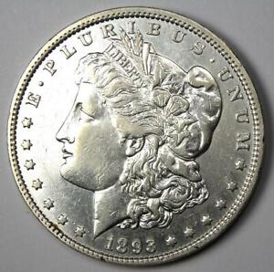 1893 Morgan Silver Dollar $1 (1893-P) - AU Details - Rare Date Coin!