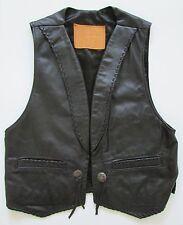 Boucher Santa Fe Black Leather Western Whipstitch Vest Silver Conchos Nwot Sz 40