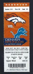 2011 NFL DETROIT LIONS @ DENVER BRONCOS FULL UNUSED FOOTBALL TICKET - TIM TEBOW