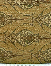 Drapery Upholstery Fabric Chenille Damask Design - Sage Green / Gold