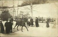 Horse Riding Skiing - Sundsvall Sweden Cameo 1908 Real Photo Postcard