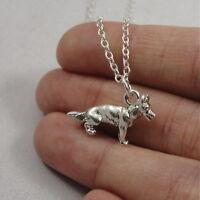 Silver German Shepherd Necklace - German Shepard Dog Charm Jewelry NEW