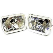 "7""x6"" Semi Sealed Beam Diamond Cut Crystal Clear Headlights Lamp Pair Conversion"