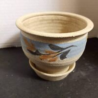 Handmade Studio Art Pottery Planter Drip Glaze Ceramic Flower Pot