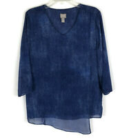 Chicos Womens Shirt Size 1=8/Medium Blue Faux Wrap 3/4 Sleeve Career Top