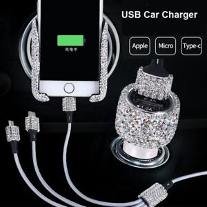 Universal Crystal Diamond USB Data Line For Mobile Phone Charger Car-Charger