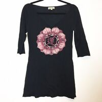 Lucky Brand Womens Black Floral Long V-neck Tee Size Small