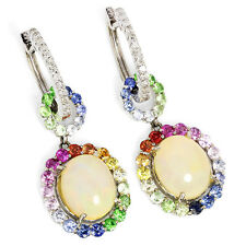 Drop Dangle Earring's with Opals, Sapphires and Diamonds 14kt White Gold 6.53ctw