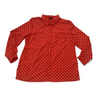 Notations Top Stretch Polka Dots Red White Button Up Shirt Blouse Size XL