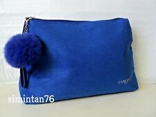 Lancome Cosmetic Makeup Bag Blue Color with Fur Ball