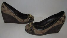 COACH Monogram ROMALIA Wedge Brown Platform Shoes Suede Heels Women Size 6.5M