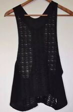 rant clothing -black lace, linen and crepe (silk?) singlet size M
