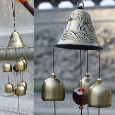 Windspiel Klangspiel mit 6x Glocken Holz Metall Haus Garten Dekoration 60cm