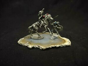 FANTASY PEWTER SKELETAL HORSE & RIDER & WARRIOR ON A SLICE OF BROWN ROCK