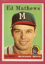 Ed Mathews 1958 Topps - 440 Milwaukee  Braves  VG must see   HOF *B0305*
