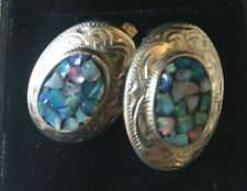 VINTAGE SCANDIA STERLING SILVER OPAL MOSAIC OVAL ENGRAVED ETCHING EARRINGS