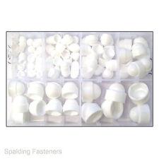 Assorted M5, M6, M8, M10, M12 & M16 Metric White Nylon Nut & Bolt Hex Cap Covers