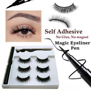 Magnetic Eyelashes with Waterproof Liquid Eyeliner False Long Lash Tweezer Set