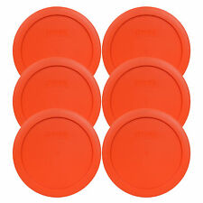 New Pyrex 7201-PC 4 Cup Round Pumpkin Orange Lid Cover 6PK for Glass Bowl