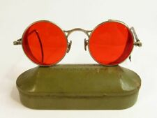 Antique WWII Red Welsh Goggles Sunglasses Spectacles Vintage Steampunk