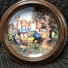 """M.J. Hummel """"Apple Tree Boy And Girl� Plate #Me1079 From 1991 Wood Frame"""