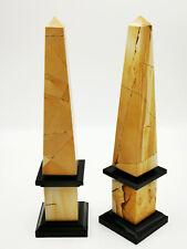 PAAR MARMOR-OBELISKEN AUS ITALIEN - 2x OBELISK - UHR-BEISTELLER 33x8x8cm