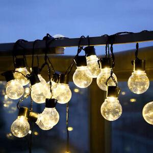 Solar/Batterie/USB Lichterkette Glühbirnen Außen Garten String Licht Birnen Deko