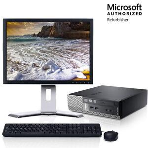 """Dell 7010 USFF Desktop Computer Core i3 4GB 128GB SSD Wifi 19"""" LCD Windows 10 PC"""