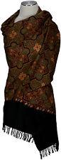 Schal hand bestickt hand embroidered 100% Wolle, wool scarf écharpe Kashmir