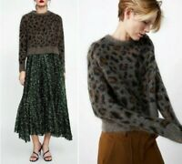 ZARA WOLLE MOHAIR ANIMAL LEOPARD PRINT PULLOVER SWEATER JUMPER SIZE M