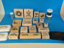 18 x PSX RUBBER MOUNTED STAMPS CHRISTMAS FLOWERS ETC CRAFT LOT & Ink Acc's PRS