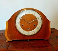 Vintage Oak Smiths Mantel Clock with Floating Balance & Westminster Chime (Key)
