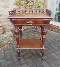 More details for antique french galleried walnut side table~lamp stand~cocktail server~bedside