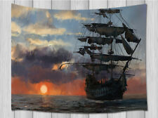 Old Pirate Ship in Sea Tapestry Wall Hanging Decoration for Bedroom Living Room