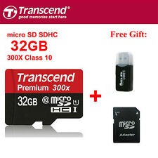 Transcend Micro SDHC Card 32GB TF Flash Memory Card With Adapter Class10 U1 C10