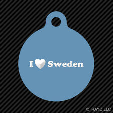 I Love Sweden Keychain Round with Tab dog engraved many colors