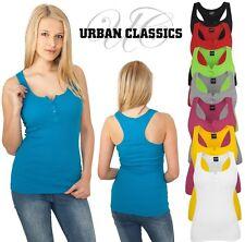 URBAN CLASSICS LADIES BUTTON TANKTOP 2by1 TB452 Loose Fit Damen Knopf Shirt Tops