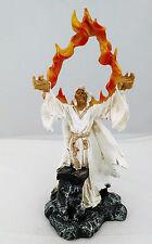 10 Inch White Holy Death Fire Statue La Santisima Muerte Santa Grim Reaper Skull