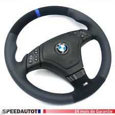 Volant alcantara aplati BMW M3 E46 multifonction avec anneau bleu airbag