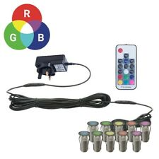 SET OF 10 - 15mm RGB PATIO DECK PLINTH LIGHTS IP67 LED REMOTE COLOUR CHANGING