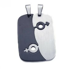 Stainless Steel Dog Tags Pendant w/ Male & Female Symbols, Free Bead Ball Chain