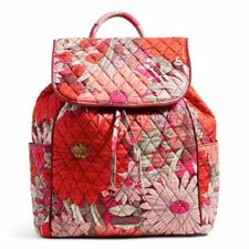 VERA BRADLEY DRAWSTRING BACKPACK BOHEMIAN BLOOMS FLORAL PINK RED CORAL NEW NWT