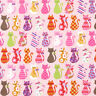 """KOKKA """"COLORFUL CATS"""" Pink Oxford Cotton by the 1/2 yard"""