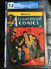 All-American Comics #33 CGC VF- 7.5; CM-OW; rare; Green Lantern cover!