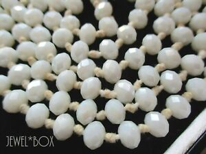 """VINTAGE HAND KNOTTED FACETED MILK WHITE CRYSTAL BEADS LONG FLAPPER 44"""" NECKLACE"""