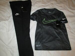 NEW 2Pc NIKE Boys School/Play OUTFIT Pants + Top Blk/Neon Size 7 FREE SHIP!