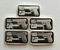 (5) 1 GRAM .999 PURE SILVER 2nd AMENDMENT BARS GLOCK GUN